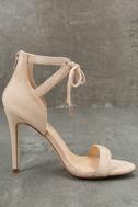 Kate Nude Suede Ankle Strap Heels 4