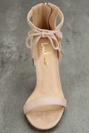 Kate Nude Suede Ankle Strap Heels 5