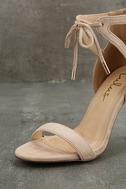 Kate Nude Suede Ankle Strap Heels 6