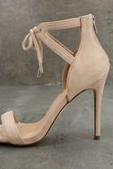 Kate Nude Suede Ankle Strap Heels 7