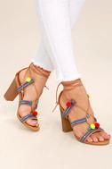 Delia Camel Lace-Up Pompom Heels 1
