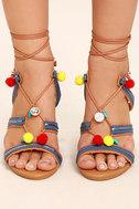 Delia Camel Lace-Up Pompom Heels 2