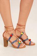 Delia Camel Lace-Up Pompom Heels 3