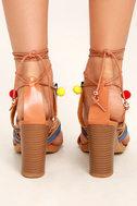 Delia Camel Lace-Up Pompom Heels 4