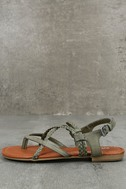 Mia Dannie Spring Khaki Flat Sandals 1