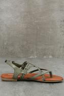 Mia Dannie Spring Khaki Flat Sandals 4