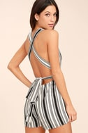 Pull Me Closer Black Striped Romper 1