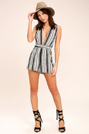 Pull Me Closer Black Striped Romper 2