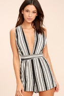 Pull Me Closer Black Striped Romper 3