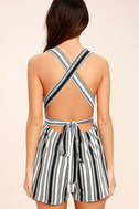 Pull Me Closer Black Striped Romper 4