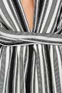 Pull Me Closer Black Striped Romper 6