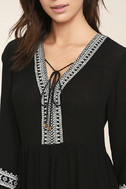 Daydreaming of You Black and White Embroidered Dress 5