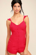 Dance it Out Berry Red Backless Romper 1