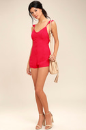 Dance it Out Berry Red Backless Romper 2