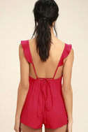 Dance it Out Berry Red Backless Romper 4