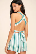 Pull Me Closer Turquoise Striped Romper 1