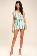 Pull Me Closer Turquoise Striped Romper 2