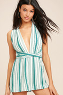 Pull Me Closer Turquoise Striped Romper 3