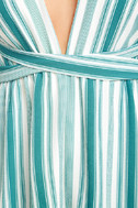 Pull Me Closer Turquoise Striped Romper 6