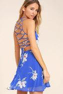 Happy Together Royal Blue Floral Print Lace-Up Dress 1