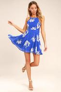Happy Together Royal Blue Floral Print Lace-Up Dress 2