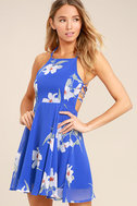 Happy Together Royal Blue Floral Print Lace-Up Dress 3