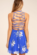 Happy Together Royal Blue Floral Print Lace-Up Dress 4