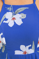 Happy Together Royal Blue Floral Print Lace-Up Dress 6