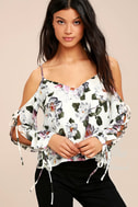 Flourishing Flowers Ivory Floral Print Off-the-Shoulder Top 1