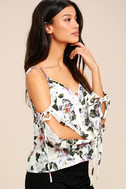 Flourishing Flowers Ivory Floral Print Off-the-Shoulder Top 3