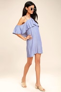 Ready or Yacht Blue Striped Off-the-Shoulder Dress 2