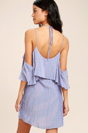 Ready or Yacht Blue Striped Off-the-Shoulder Dress 3