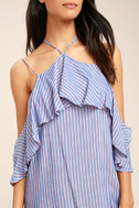 Ready or Yacht Blue Striped Off-the-Shoulder Dress 5