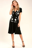 I Heart You Black Embroidered Midi Dress 3