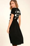 I Heart You Black Embroidered Midi Dress 4