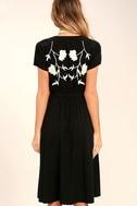 I Heart You Black Embroidered Midi Dress 5
