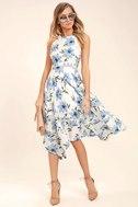 Zahara Blue and White Floral Print Midi Dress 2
