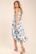 Zahara Blue and White Floral Print Midi Dress 3