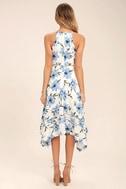 Zahara Blue and White Floral Print Midi Dress 4
