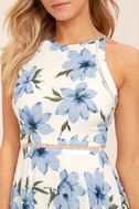 Zahara Blue and White Floral Print Midi Dress 5