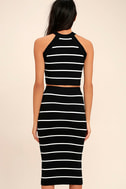 Adaptable Black and White Striped Pencil Skirt 4
