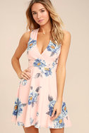 Garden Walk Blush Pink Floral Print Lace-Up Skater Dress 3