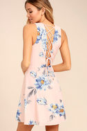 Garden Walk Blush Pink Floral Print Lace-Up Skater Dress 1