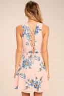 Garden Walk Blush Pink Floral Print Lace-Up Skater Dress 4