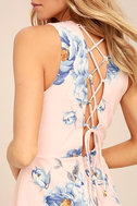 Garden Walk Blush Pink Floral Print Lace-Up Skater Dress 5