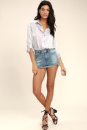 Brighten Your Day Light Wash Cutoff Denim Shorts 3