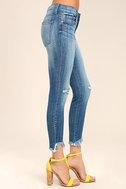 Audrey Medium Wash Distressed Ankle Skinny Jeans 4