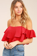 Filled with Surprises Red Off-the-Shoulder Crop Top 1