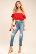 Filled with Surprises Red Off-the-Shoulder Crop Top 2