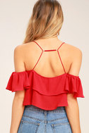 Filled with Surprises Red Off-the-Shoulder Crop Top 4